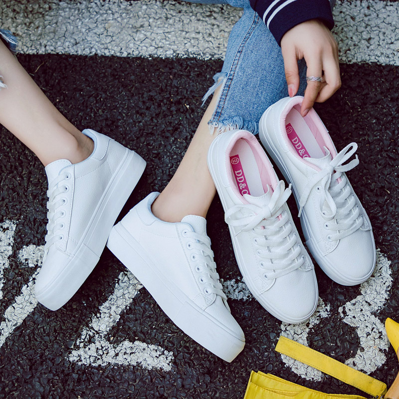 Women Shoes Casual High Platform Solid Color PU Leather Women Casual Vulcanize Shoes Canvas Sneakers Woman