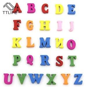 Image 2 - Rompecabezas educativo de madera para niños, juguete de alfabeto, letras de Scrabble, coloridas letras decorativas, números, manualidades, bricolaje, 100 Uds.