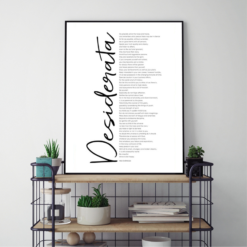 Desiderata Prints Max Ehrmann Poem Large Poster Decor Home Wall Art Decor Inspirational Quote Literature Art Canvas Painting image