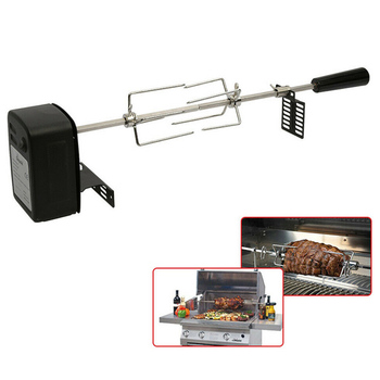 Universal Grill Rotisserie Kit Complete BBQ Kit with Spit Rod Meat Fork Electric Motor QP2