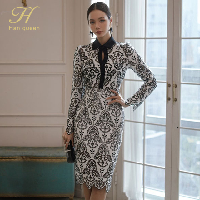 H Han Queen Women Autumn 2 Pieces Hollow Out Embroidery Pencil Dress Office Sexy Elegant Sheath Bodycon Vestidos Party Dresses 4