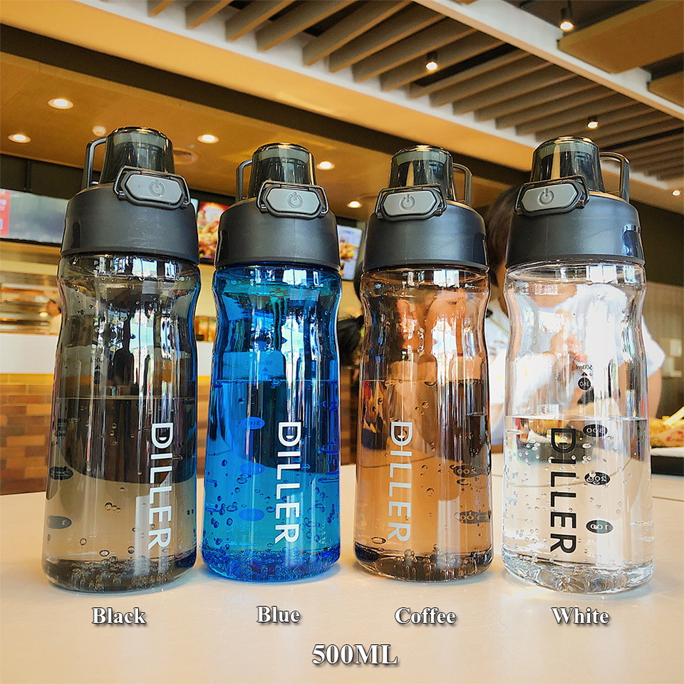 He1c95acbf6364690932cd5794b5153f6Z DILLER Water Bottle Popular Gray Men Outdoor Sport Travel My Drink Bottle Portable Leakproof Plastic Milk fruit gym Bottles