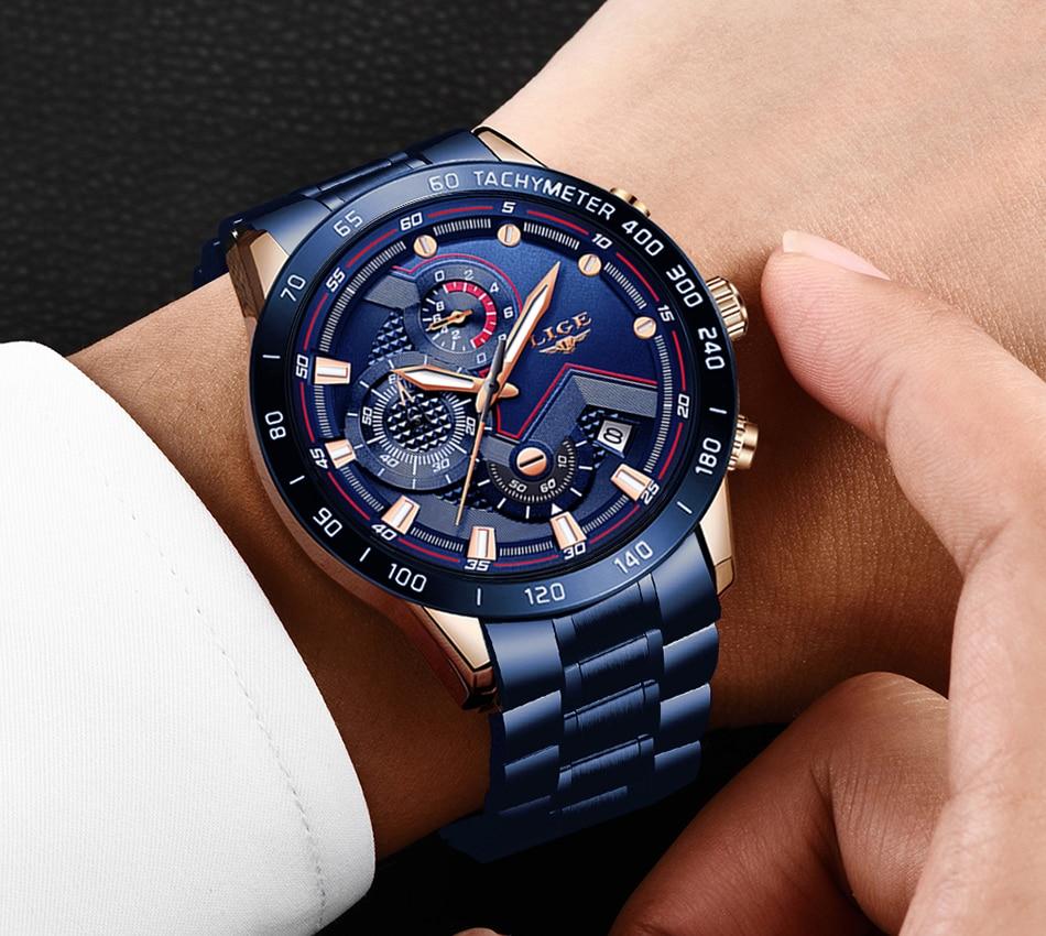 He1c95bc1e7a143ab8833ca488bfc5094P LIGE Men Watches Top Brand Luxury Stainless Steel Blue Waterproof Quartz Watch Men Fashion Chronograph Male Sport Military Watch