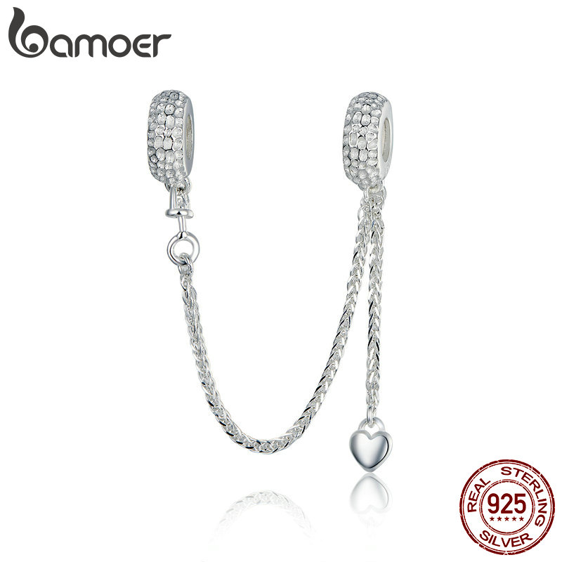 BAMOER Hot Sale 925 Sterling Silver Love Heart Safety Chain Charms Stopper Pendant Fit Women Bracelets DIY Jewelry SCC1112