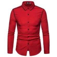 Tuxedo Shirt Blouse Long-Sleeve Men Single-Breasted Korean-Fashion Solid for XXL