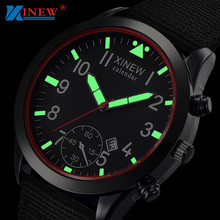XINEW Men Watches Fashion Mens Watches Luminous Dial Quartz Watch Army Soldier Military Nylon Strap Watches Men Sports Watches cheap WoMaGe Buckle 3Bar Stainless Steel 25cm 20mm ROUND No package Canvas Luminous Hands 37mm Hardlex xinew watch men 16665