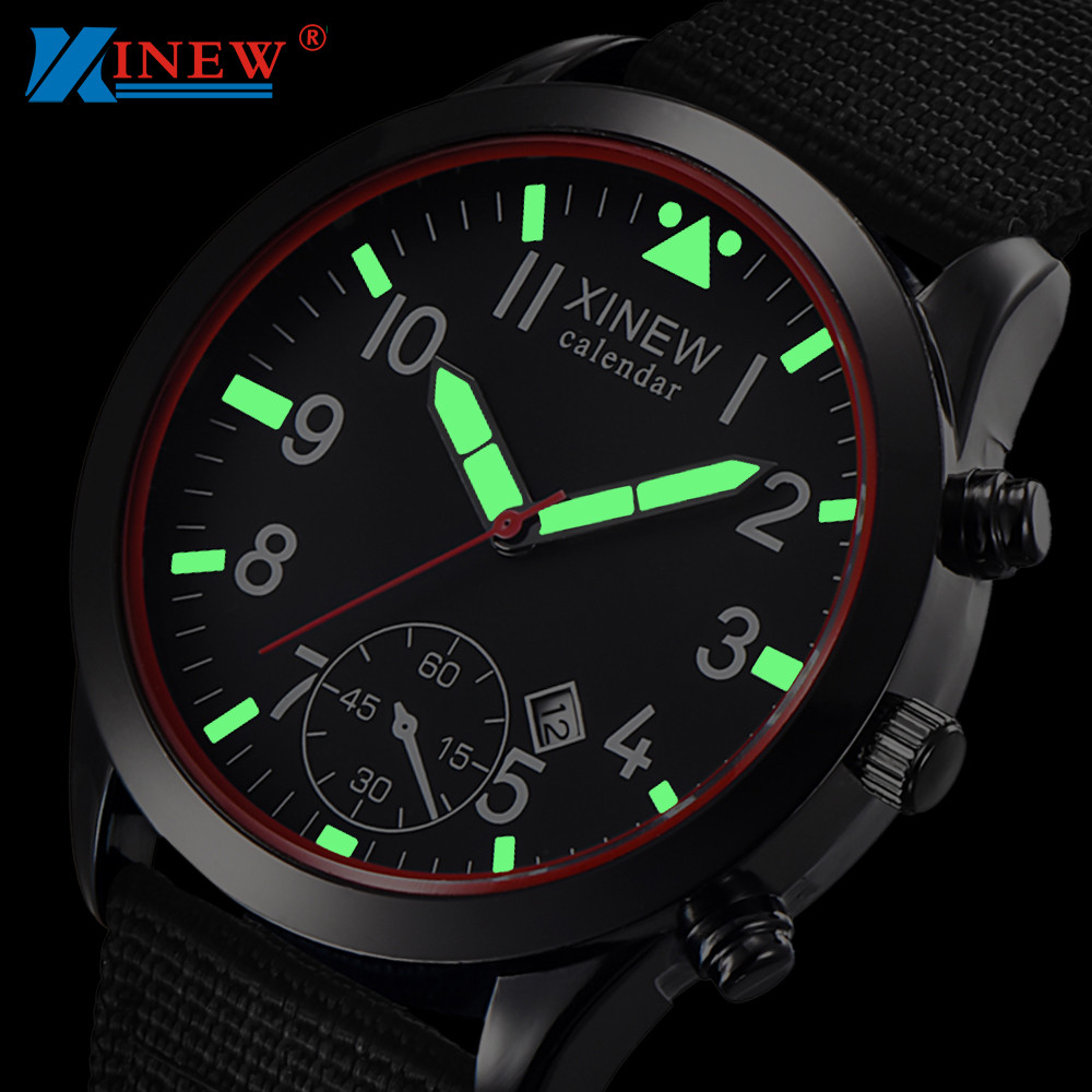 XINEW Men Watches Fashion Mens Luminous Dial Quartz Watch Army Soldier Military Nylon Strap Sports