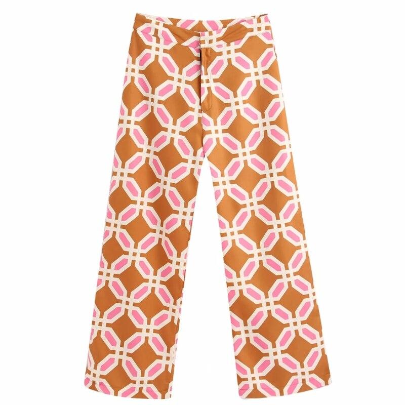 Women Popular Colorful Geometric Print Straight Pants Femme Leisure Zipper Trousers Office Lady Wear Casual Slim Chic Pants P604