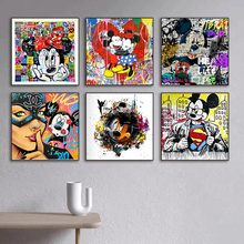 Disney Mickey Mouse Canvas Painting Mickey and Minnie Painting Picture Canvas Paintings Posters Prints for Living Room Decor