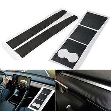 3D Car Sticker Kit Center Console Dashboard Carbon Fiber Vinyl Wrap Film Self Adhesive Dustproof Decoration For Tesla Model 3(China)