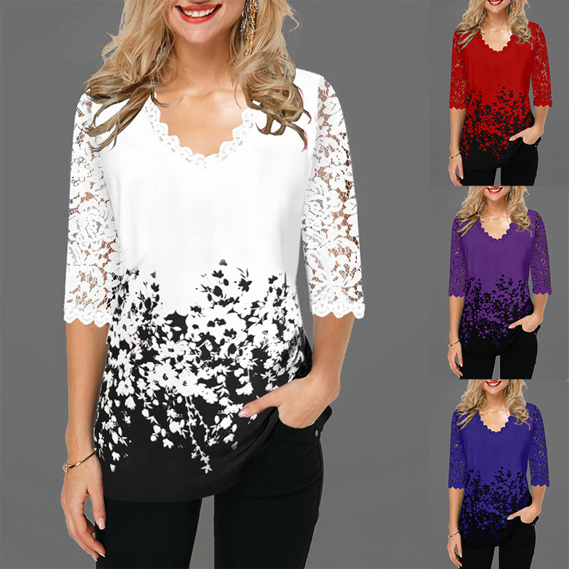 Women V Neck Blouse Shirt Half Sleeve Print Floral Spring Pullover Plus Size 5XL Hollow Out Lace Female Casual Shirt