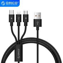 ORICO 3 IN 1 tip C 8Pin mikro USB kablosu için iPhone 8X7 6 6S artı iOS 10 9 8 Samsung Nokia USB hızlı şarj kabloları kablosu