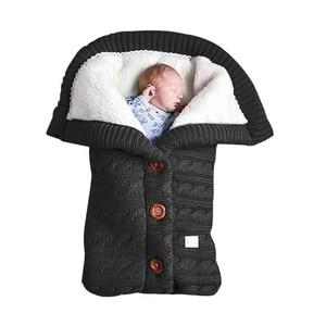 Image 2 - Coperta per bambini calda maglia per neonato Swaddle Wrap morbido sacco a pelo per bambini coprigambe busta in cotone per passeggino accessori coperta