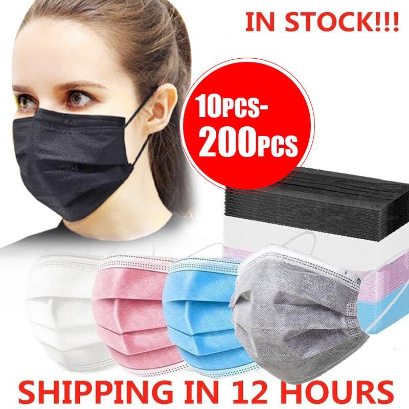 10-200 шт. маска одноразовая Nonwove 3 Слои фильтр маска для губ маска для лица фильтр Безопасный Дышащие черные туфли защитные маски Быстрая доста...