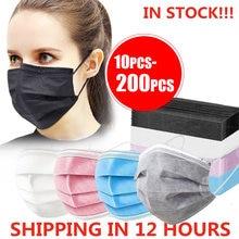 10-200 pces máscara descartável nonwove 3 camada filtro máscara boca máscara protetora filtro seguro respirável preto máscaras protetoras rápido shippin