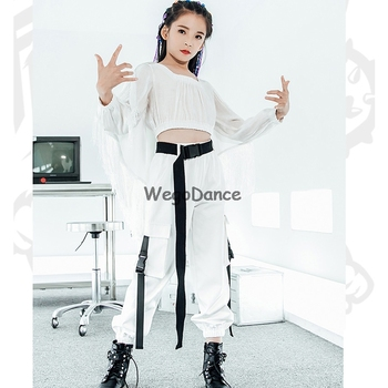 Girls Jazz Dance Costume White Hip Hop Street Dance Clothes Kids Stage Performance Clothing Children Catwalk Show Outfit