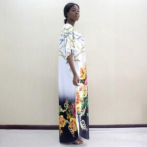 Image 3 - 2019 nowości Fashion Design Dashikiage kwiaty i biżuteria wzór wydruku czarny krótki rękaw Plus rozmiar sukienki dla kobiet