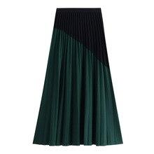 Осень новые высокие талии двухцветные сплайсинга длинные плиссированные юбки женские юбки девушка 8185