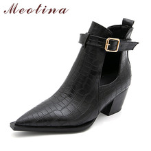 Meotina Women Ankle Boots Shoes Buckle High Heel Short Boots Pointed Toe Block Heels Ladies Boots Autumn Black White Big Size 45 sorbern pointed toe women boots ankle high heels ladies boots fashion shoes cut out zipper ankle boots for women big size 45