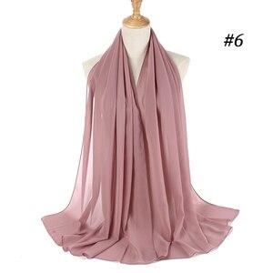 Image 5 - Foulard Hijab en mousseline de soie pour femmes, foulard châle en soie unie, couvre tête, foulard pour la tête, couvre tête, foulard 2019