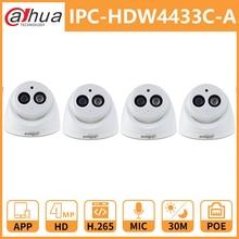 Dahua cámara de seguridad para el hogar, 4MP, DH IPC HDW4433C A, 4433C A, cámara IP de red, Onvif, micrófono incorporado con POE, reemplaza IPC HDW4431C A