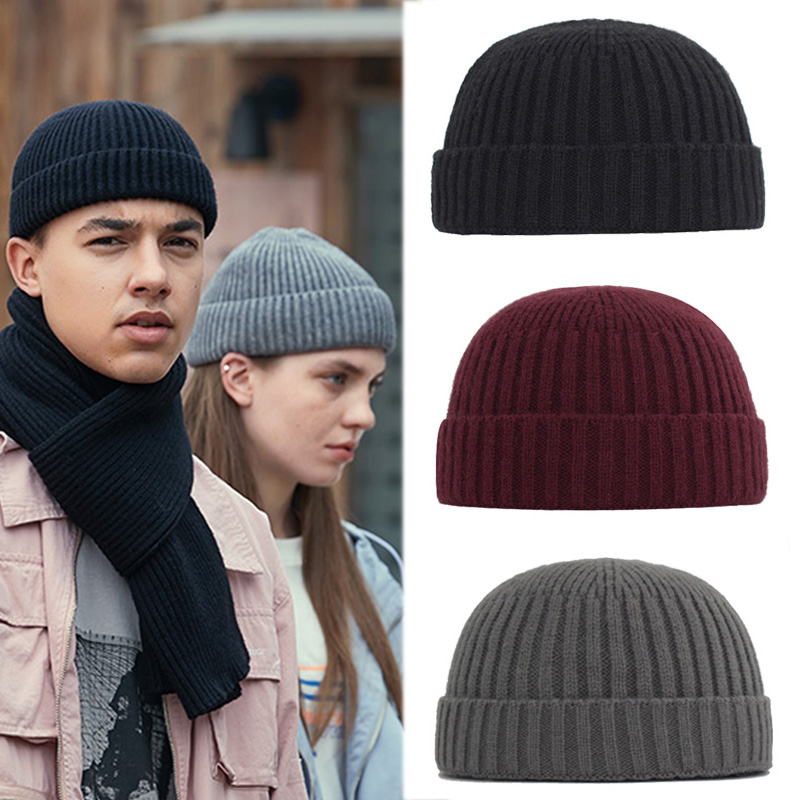 Winter Hat Men Knitted Hat Women Beanie Skullcap Sailor Docker Cap Cuff Brimless Retro Black Style Hip Hop Male Dad Hat Beanies