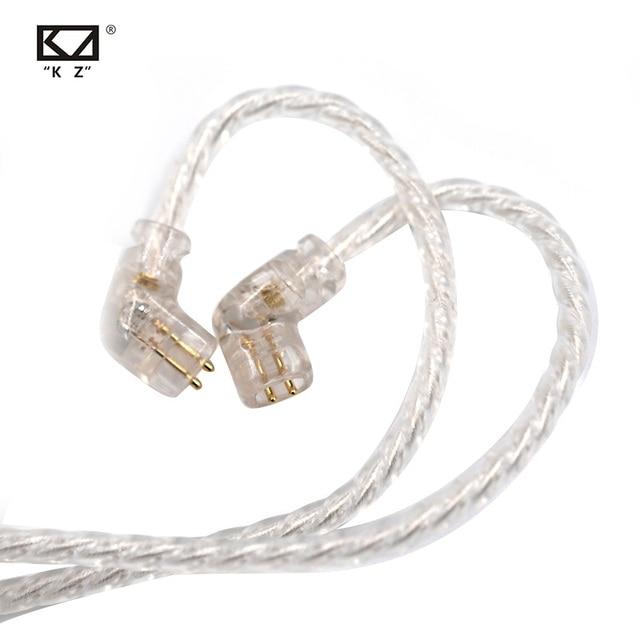 CCA KZ ZSN Oortelefoon Silvers Kabel Zsn Pro Plated Upgrade Kabel 2pin vergulde Pin 0.75mm voor KZ ZSN Pro zs10 pro KB06 KB10