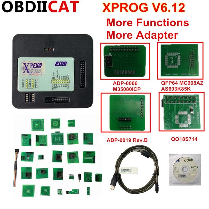 OBDIICAT Newest  XPROG V6.12 High Quality X-prog  V5.84 ECU Programmer Tool  Metal Box  XProg-M Box V6.12 X Prog M Full Adapters