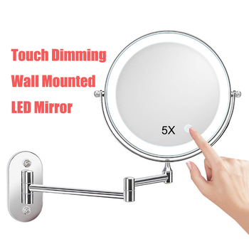 2-face Wall Mirror LED Makeup Cosmetic Vanity Mirror 5X Magnifying Touch Dimming LED Lights Wall Mount Bathroom Mirrors 8inches