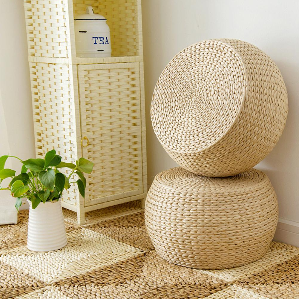 35CM Tatami Straw Woven Floor Cushion Round Square Handmade Futon Meditation Yoga Pillow Floor Braid Seat Mat Japanese Style