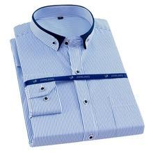 플러스 사이즈 8XL 남성 셔츠 긴 소매 단색 줄무늬 셔츠 남성 복장 대형 7XL 6XL 흰색 사회 셔츠 남성 의류 Streetwear