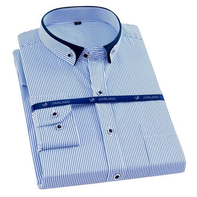 בתוספת גודל 8XL גברים חולצה ארוך שרוול מוצק פסים חולצות גברים שמלת גדול 7XL 6XL לבן חברתי חולצות גברים בגדים streetwear