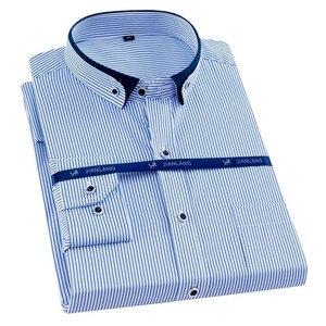 Image 1 - Artı boyutu 8XL erkekler gömlek uzun kollu katı çizgili gömlek erkekler elbise büyük 7XL 6XL beyaz sosyal gömlek erkek giyim streetwear