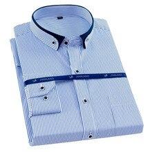 Plus Size 8XL Homens Camisa Dos Homens Vestido de Camisas Listradas de Manga Longa Sólida Grande 7XL 6XL Branco Camisas Sociais Homens Roupas streetwear