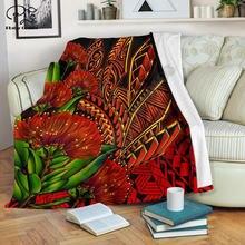 Ohia lehua полинезийский стиль Одеяло с 3d принтом шерпа одеяло