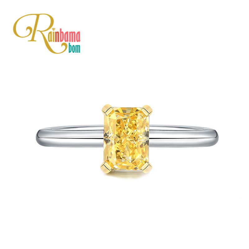 Rainbamabom 925 Sterling Silver Created Moissanite Citrine Gemstone Birthstone Wedding Engagement Ring Fine Jewelry Wholesale