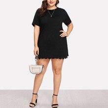 Fashion Plus Size Black Dress Women Ruffles Mini Summer Short Sleeve Sheath Casual Solid Female Party