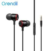 Orendil 3,5mm Stereo Bass Kopfhörer In Ohr Verdrahtete Kopfhörer, metall HIFI Ohrhörer mit MIKROFON für Huawei Xiaomi Samsung Handys