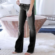 2021 Hot Style Women Jeans Slim Slimming Micro-flare Jeans Fashion Women's Pants Ripped Jeans for Women Black Pants Full Length