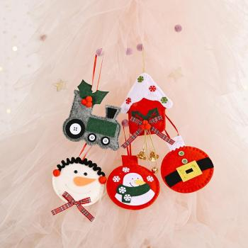 Рождественские украшения Christmas Non-woven Fabric Snowman Car Bell Pendant Xmas Tree Home Party Decor 5 styles Домашний декор image