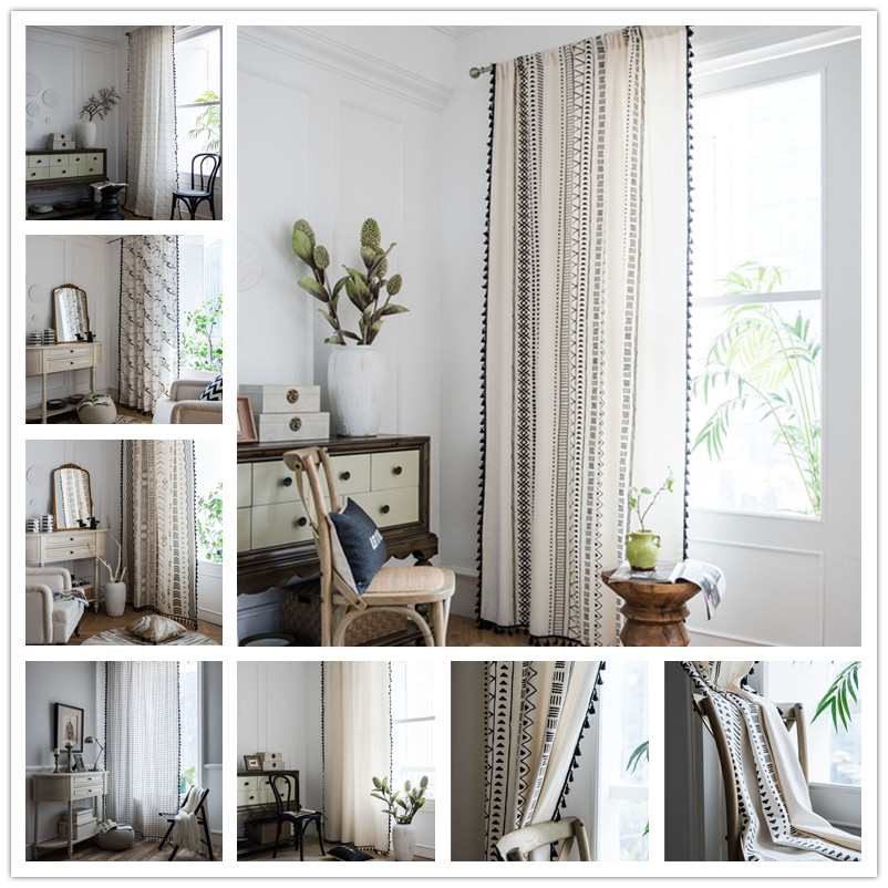 Cotton Linen Printing American Tassel Bohemian Style Bedroom/Living room/Kitchen Curtains Country Finished Window Semi-transmiss