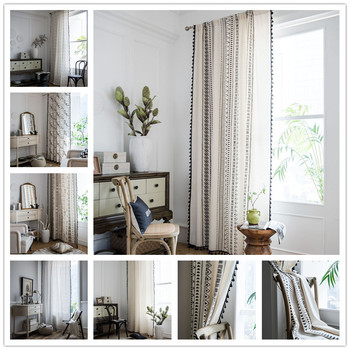 Impresión de lino de algodón con flecos americanos estilo bohemio dormitorio/sala de estar/cocina cortinas país terminado ventana Semi-transmiss