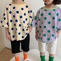 2021 летняя новая детская футболка MILANCEL в горошек с круглым вырезом, Детские футболки, хлопковая повседневная одежда для брата и сестры