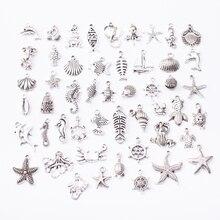 Морские животные 50 шт тибетские серебряные смешанные стили Подвески самодельные ювелирные изделия для изготовление браслета ожерелья Аксессуары js2231