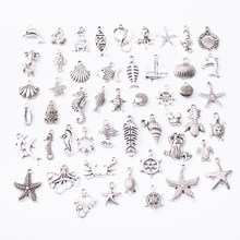 Marine animal 50pcs Tibetan Silver Mixed Styles Charms Pendants DIY Jewelry for Necklace Bracelet Making Accessaries js2231(China)