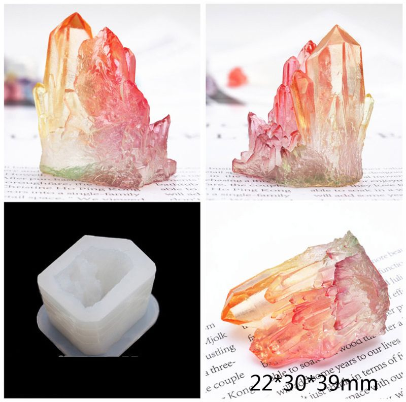 Handmade Natural Crystal Quartz Rock Cluster Geode Druzy Stone Epoxy Resin Mold Pendant Mold Resin Jewelry Making Tools