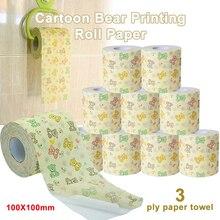 Cartoon Bear Printing Roll Paper Towel Bath Toilet 3-layers Tissue Home Paper