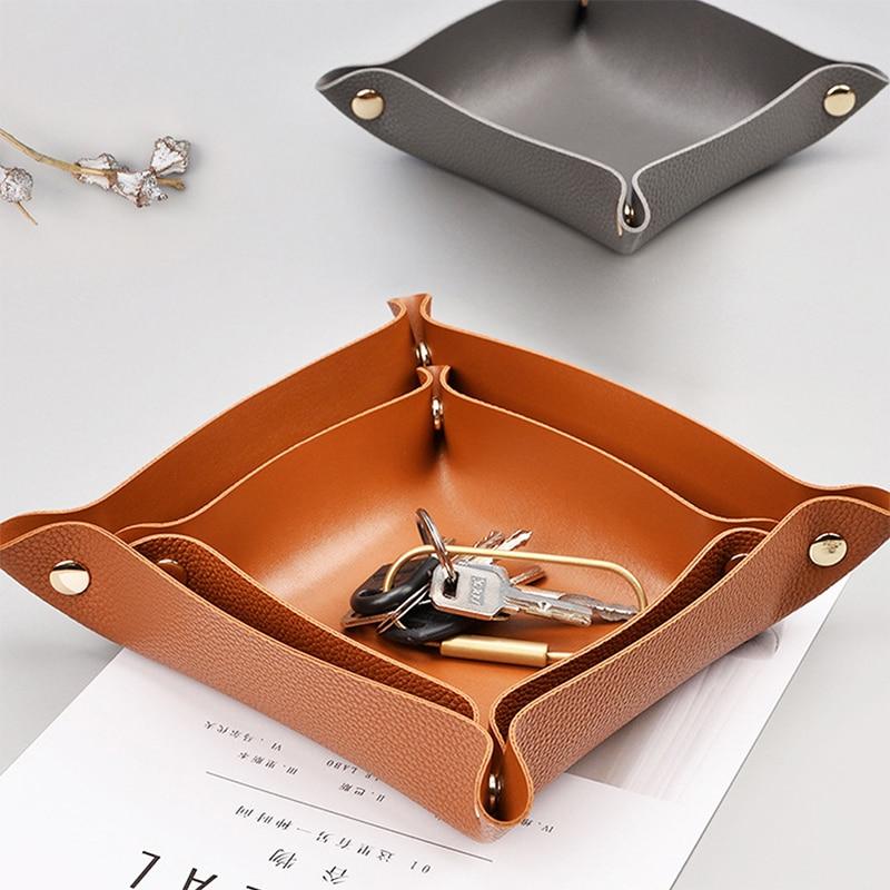 Trays Leather Personalized Desk Organizer Desktop Storage Box For Jewlery Key Cosmetics Glasses Headphone Wallet Office Home Use