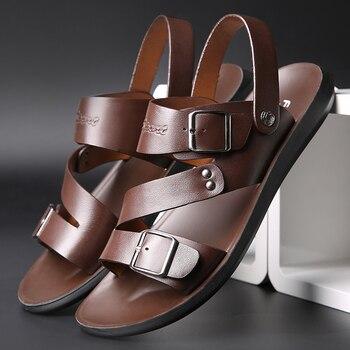 Genuine Leather Sandals for Men Summer Sandals Casual Shoes Men Sendel New Fashion Mens Beach Sandals Sandale Homme Cuir uexia 2018 new men sandals leather summer hook