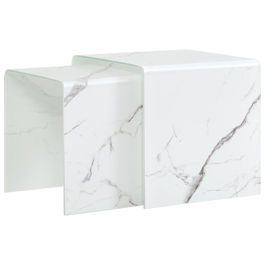 VidaXL Nesting Coffee Tables 2 Pcs White Marble Effect 42x42x41.5 Cm Tempered Glass